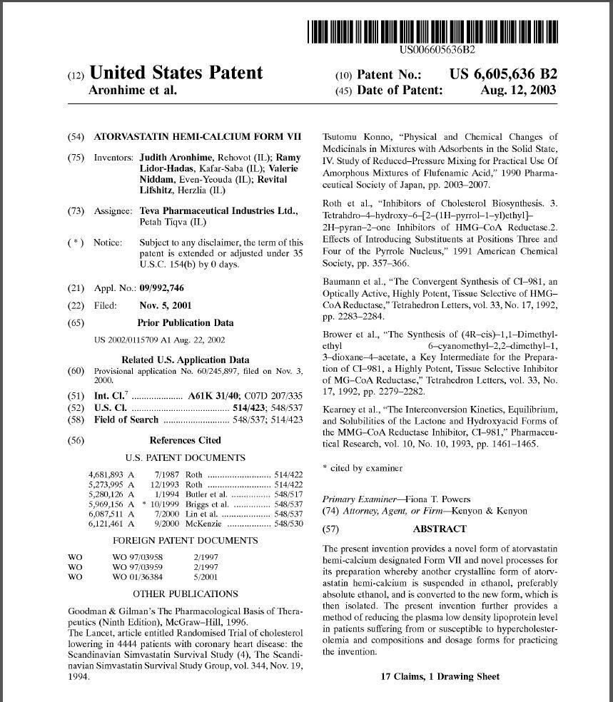 lipitor atorvastatin patent 2003